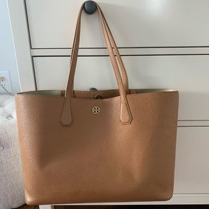 Tan Tory Burch Leather Tote Bag - Perry